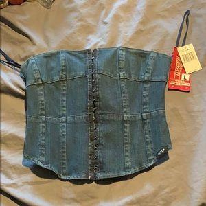 Guess denim corset top size L
